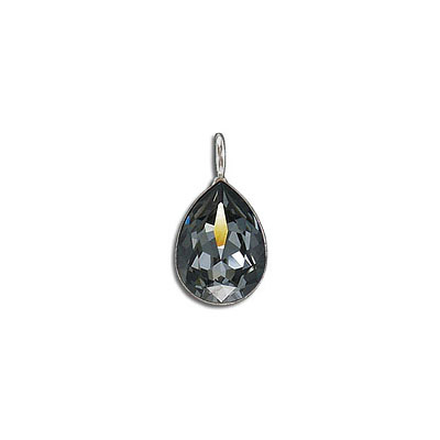Metal pendant, Crystal Swarovski 4320, Fancy Pear, 14x10mm, crystal silver night, rhodium plate. Exclusive to Frabels.