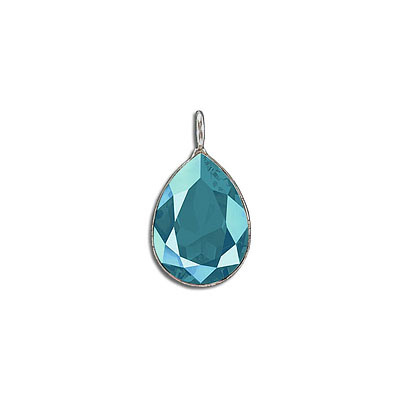 Metal pendant, Crystal Swarovski 4320, Fancy Pear, 18x13mm, crystal azure blue, rhodium plate. Exclusive to Frabels.