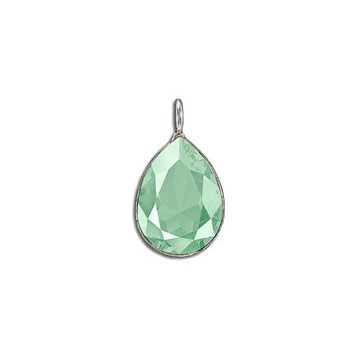 Metal pendant, Crystal Swarovski 4320, Fancy Pear, 18x13mm, crystal mint green, rhodium plate. Exclusive to Frabels.