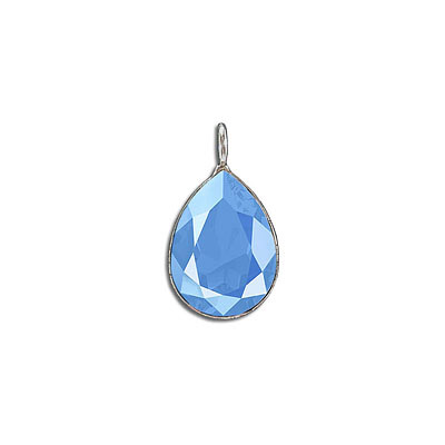 Metal pendant, Crystal Swarovski 4320, Fancy Pear, 18x13mm, crystal summer blue, rhodium plate. Exclusive to Frabels.