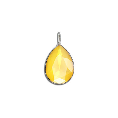 Metal pendant, with Swarovski crystal 4320, 18x13mm, crystal buttercup, rhodium plate