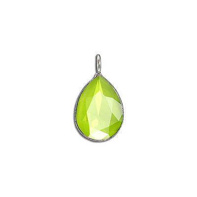 Metal pendant, with Swarovski crystal 4320, 18x13mm, crystal lime, rhodium plate