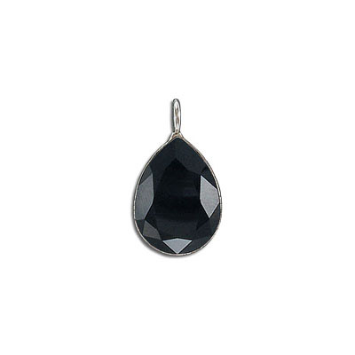 Metal pendant, Crystal Swarovski 4320, Fancy Pear, 18x13mm, jet, rhodium plate. Exclusive to Frabels.