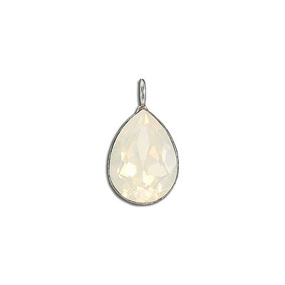 Metal pendant, Crystal Swarovski 4320, Fancy Pear, 18x13mm, white opal, rhodium plate. Exclusive to Frabels.