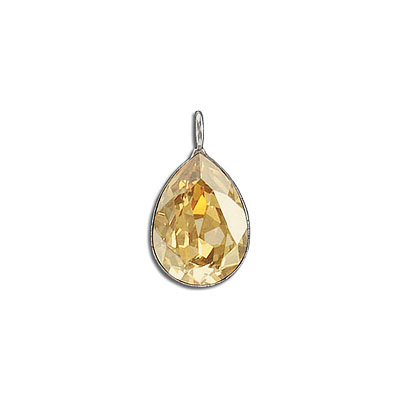 Metal pendant, Crystal Swarovski 4320, Fancy Pear, 18x13mm, crystal golden shadow, rhodium plate. Exclusive to Frabels.