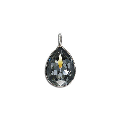 Metal pendant, Crystal Swarovski 4320, Fancy Pear, 18x13mm, crystal silver night, rhodium plate. Exclusive to Frabels.