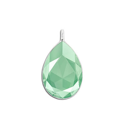 Metal pendant, Swarovski 4327 pear shape fancy stone, 30x20mm, crystal mint green, rhodium plate. Exclusive to Frabels