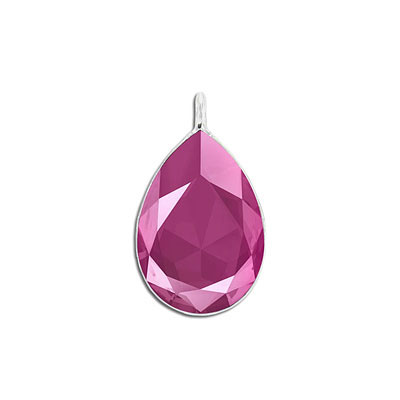 Metal pendant, Swarovski 4327 pear shape fancy stone, 30x20mm, crystal peony pink, rhodium plate. Exclusive to Frabels