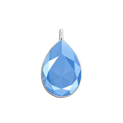 Metal pendant, Swarovski 4327 pear shape fancy stone, 30x20mm, crystal summer blue, rhodium plate. Exclusive to Frabels
