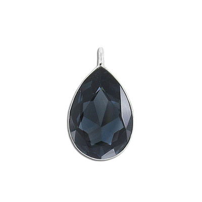 Metal pendant, Swarovski 4327 pear shape fancy stone, 30x20mm, graphite, rhodium plate. Exclusive to Frabels