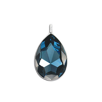 Metal pendant, Crystal Swarovski 4327, Pear Fancy Stone, 30x20mm, montana, rhodium plate. Exclusiive to Frabels