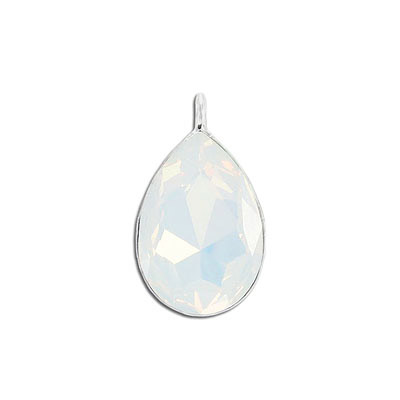 Metal pendant, Swarovski 4327 pear shape fancy stone, 30x20mm, white opal, rhodium plate. Exclusive to Frabels