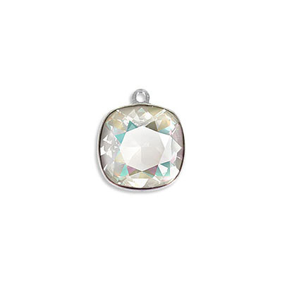 Metal pendant, Swarovski 4470 square fancy stone, 12mm, crystal light grey delight, rhodium plate. Exclusive to Frabels