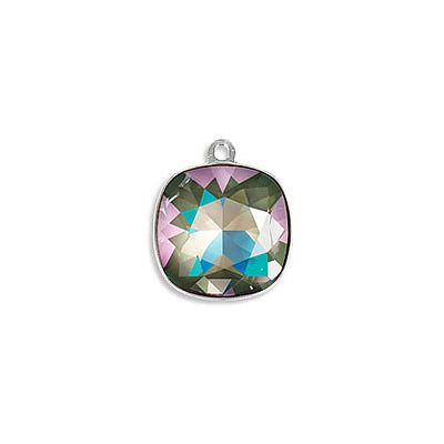 Metal pendant, Swarovski 4470 square fancy stone, 12mm, crystal army green delight, rhodium plate. Exclusive to Frabels