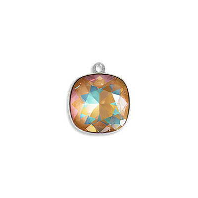 Metal pendant, Swarovski 4470 square fancy stone, 12mm, crystal ochre delight, rhodium plate. Exclusive to Frabels
