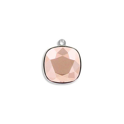 Metal pendant, Swarovski 4470 square fancy stone, 12mm, crystal rose gold, rhodium plate. Exclusive to Frabels