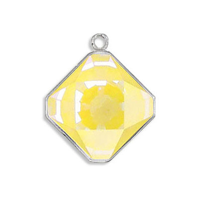 Metal pendant, Crystal Swarovski 4499, Kaleidoscope Square Fancy Stone, 14mm, crystal sunshine delight, rhodium plate