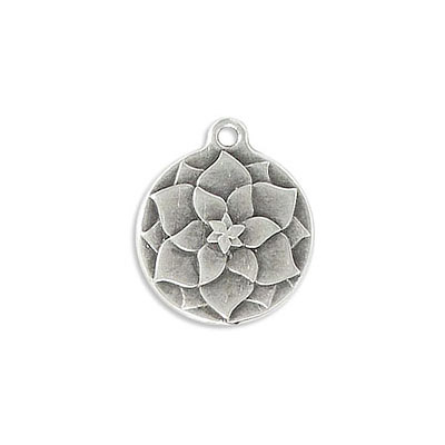 Metal pendant, 18mm, round, flower, zamak (zinc alloy), antique silver