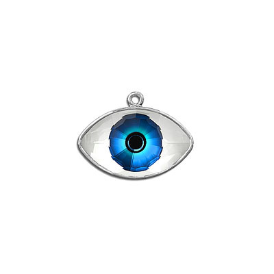 Metal pendant, with Swarovski Digital Print Blue Crystal CAL, 18x10.50mm, rhodium plate