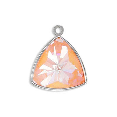 Metal pendant, Crystal Swarovski 4799 Kaleidoscope Triangle Fancy Stone, 14mm, crystal peach delight, rhodium plate