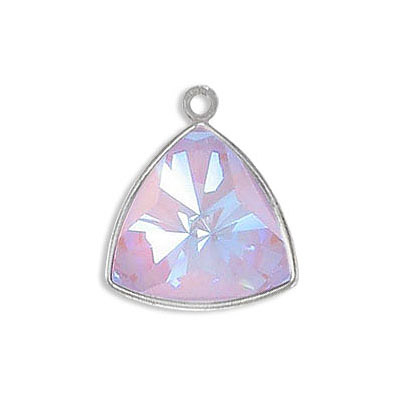 Metal pendant, Crystal Swarovski 4799 Kaleidoscope Triangle Fancy Stone, 14mm, crystal lavender delight, rhodium plate