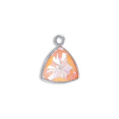 Metal pendant, Crystal Swarovski 4799 Kaleidoscope Triangle Fancy Stone, 9mm, crystal peach delight, rhodium plate