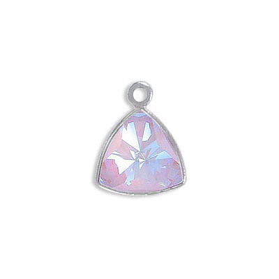 Metal pendant, Crystal Swarovski 4799 Kaleidoscope Triangle Fancy Stone, 9mm, crystal lavender delight, rhodium plate