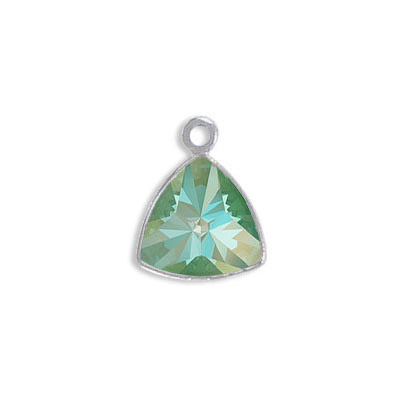Metal pendant, Crystal Swarovski 4799 Kaleidoscope Triangle Fancy Stone, 9.2x9.4mm, crystal silky sage DeLite, rhodium p