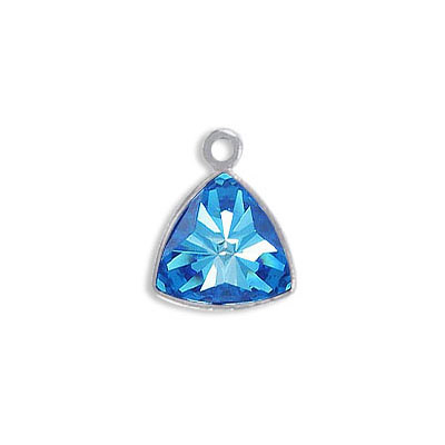 Metal pendant, Crystal Swarovski 4799 Kaleidoscope Triangle Fancy Stone, 9.2x9.4mm, crystal royal blue DeLite, rhodium p