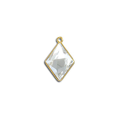 Metal pendant, Swarovski 4929 Tilted Spike Fancy Stone, 14x10mm, crystal clear, gold plate. Exclusive for Frabels