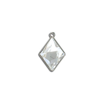 Metal pendant, Swarovski 4929 Tilted Spike Fancy Stone, 14x10mm, crystal clear, rhodium plate. Exclusive for Frabels