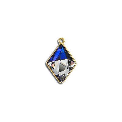 Metal pendant, Swarovski 4929 Tilted Spike Fancy Stone, 14x10mm, bermuda blue CAL, gold plate. Exclusive for Frabels