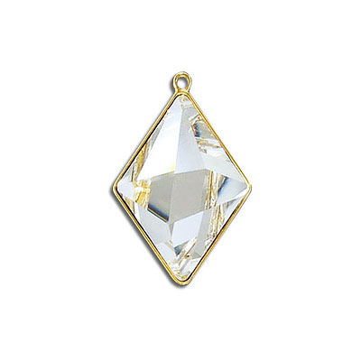 Metal pendant, Swarovski 4929 Tilted Spike Fancy Stone, 24x17mm, crystal clear, gold plate. Exclusive for Frabels