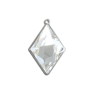 Metal pendant, Swarovski 4929 Tilted Spike Fancy Stone, 24x17mm, crystal clear, rhodium plate. Exclusive for Frabels