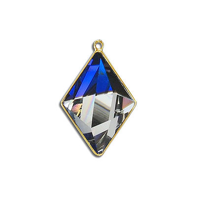 Metal pendant, Swarovski 4929 Tilted Spike Fancy Stone, 24x17mm, bermuda blue CAL, gold plate. Exclusive for Frabels