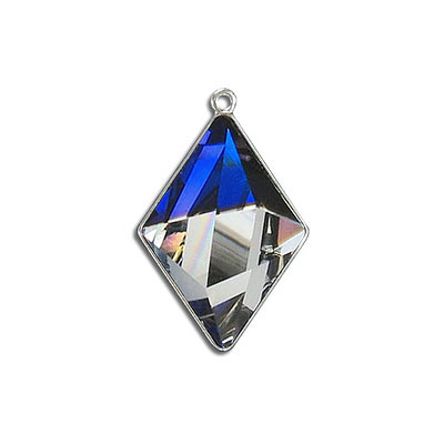Metal pendant, Swarovski 4929 Tilted Spike Fancy Stone, 24x17mm, bermuda blue CAL, rhodium plate. Exclusive for Frabels