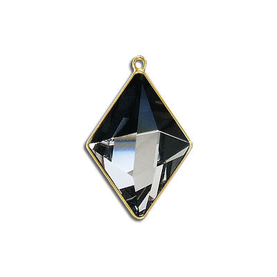 Metal pendant, Swarovski 4929 Tilted Spike Fancy Stone, 24x17mm, moroda CAL, gold plate. Exclusive for Frabels