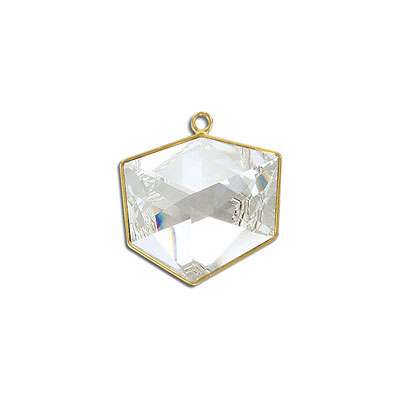 Metal pendant, Swarovski 4933 Tilted Dice Fancy Stone, 19mm, crystal clear, gold plate. Exclusive for Frabels