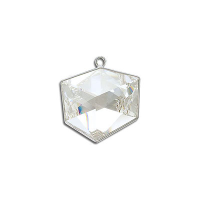 Metal pendant, Swarovski 4933 Tilted Dice Fancy Stone, 19mm, crystal clear, rhodium plate. Exclusive for Frabels