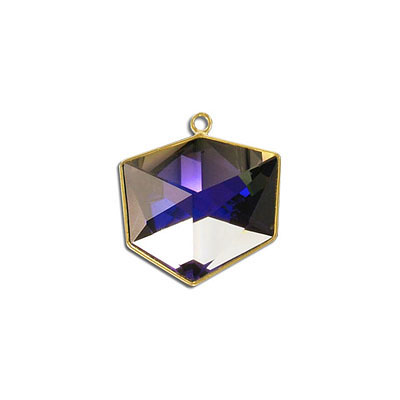 Metal pendant, Swarovski 4933 Tilted Dice Fancy Stone, 19mm, crystal purple CAL, gold plate. Exclusive for Frabels