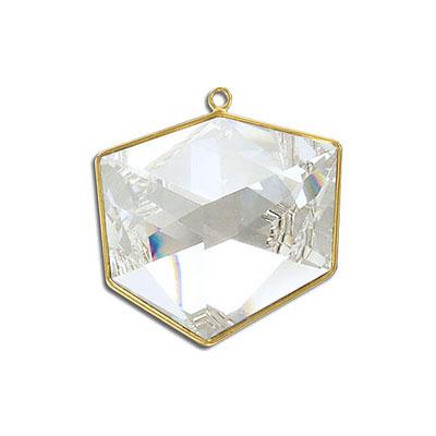 Metal pendant, Swarovski 4933 Tilted Dice Fancy Stone, 27mm, crystal clear, gold plate. Exclusive for Frabels