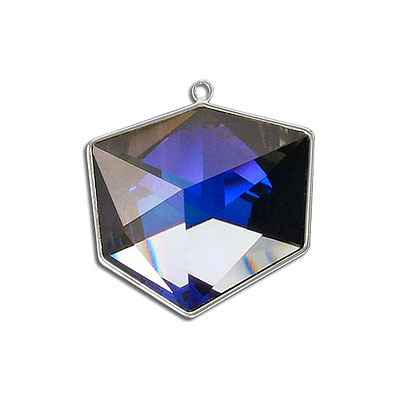 Metal pendant, Swarovski 4933 Tilted Dice Fancy Stone, 27mm, crystal purple CAL, rhodium plate. Exclusive for Frabels
