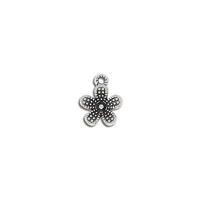 Metal pendant, 11mm, flower, zamak (zinc alloy), antique silver