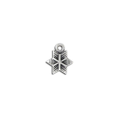Metal pendant, 12.x10mm, star charm, zamak (zinc alloy), antique silver