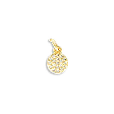 Metal pendant, 6mm, round, brass core, cubic zirconia pave, gold plate, with 5mm jump ring