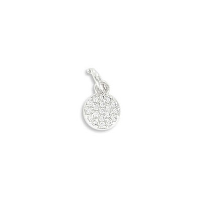 Metal pendant, 6mm, round, brass core, cubic zirconia pave, rhodium imitation, with 5mm jump ring