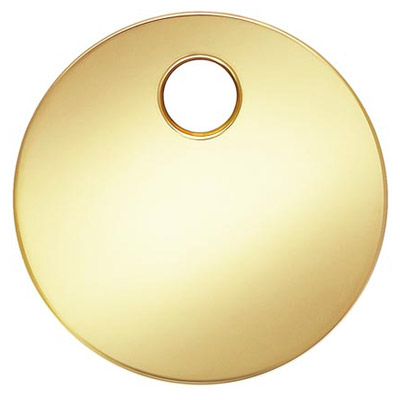 Metal pendant, 6mm, disc, 0.3mm thickness, approx. hole size 1.2mm, gold filled, gold plate