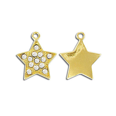 Metal pendant, star with crystals, gold plate, lead safe