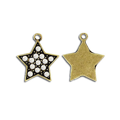 Metal pendant, star with crystals, antique brass, lead safe
