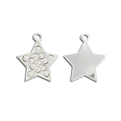 Metal pendant, star with crystals, silver plate, lead/cad safe